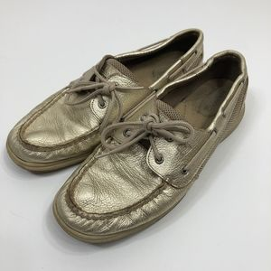 Sperry Metallic Gold Boat Shoe Size 9.5